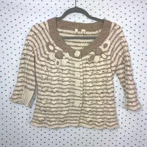 Moth Anthropologie Cream & Brown Crop Sweater